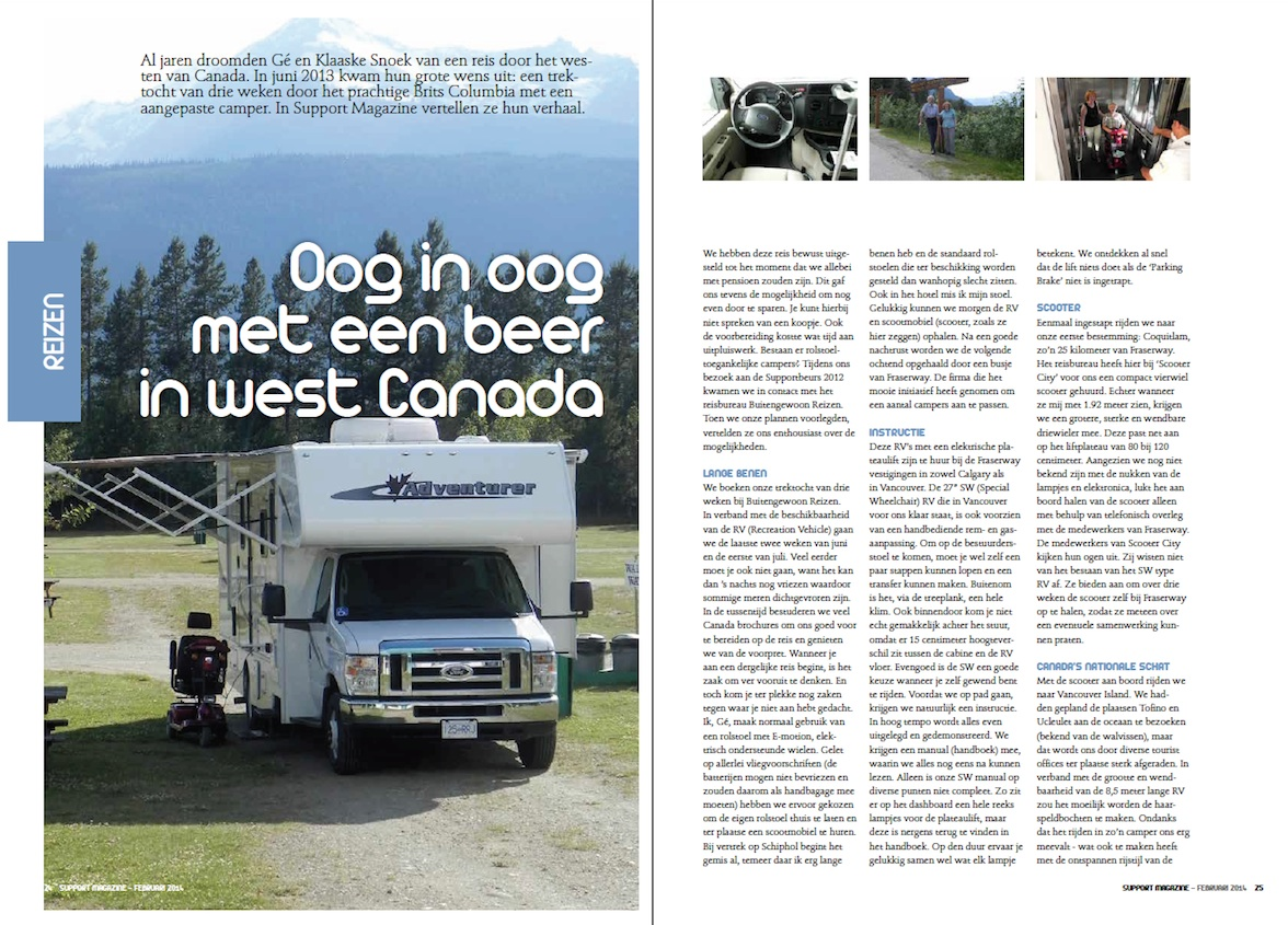 Artikel Support Magazine. 'Oog in oog met een beer in west Canada'.