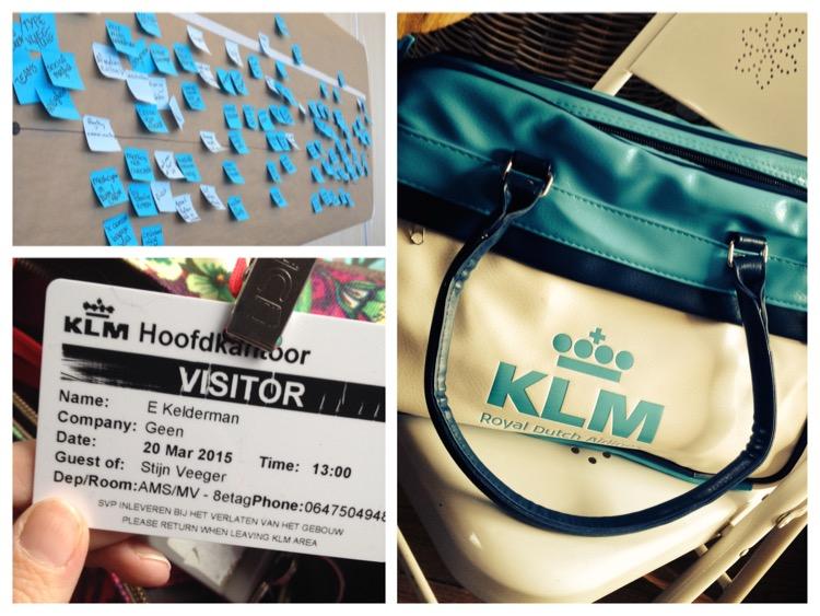 collage van drie foto's, KLM tas, Badge bezoek KLM, bord met veel 'geeltjes' als resultaat van de brainstorm