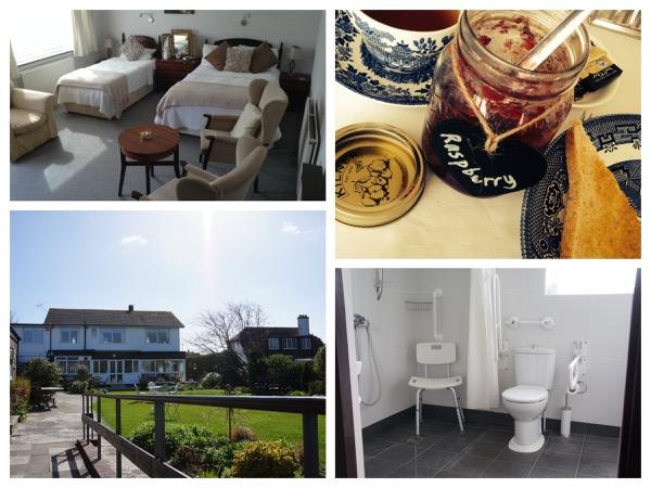 vier foto's van St.Andrews lodge, badkamer met  beugels bij het toilet en  douchestoel