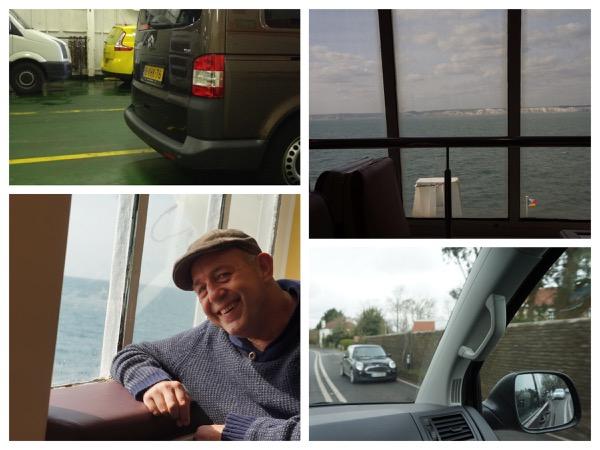 vier foto's op de veerboot, genoeg ruimte rondom de auto  en mooi uitzicht met de witte kliffen van Engeland. Links rijden vanuit de auto gefotografeerd.