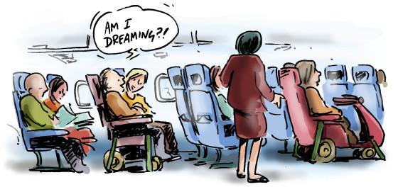 striptekening met rolstoelers in het vliegtuig