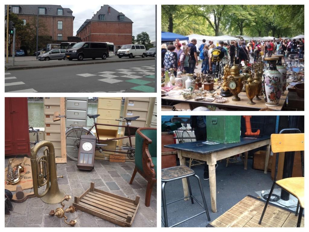 verschillende foto's met sfeerbeelden van de brocantemarkt