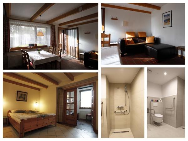 collage van foto's van het mindervaliden appartement bij Gastehaus Bartsch