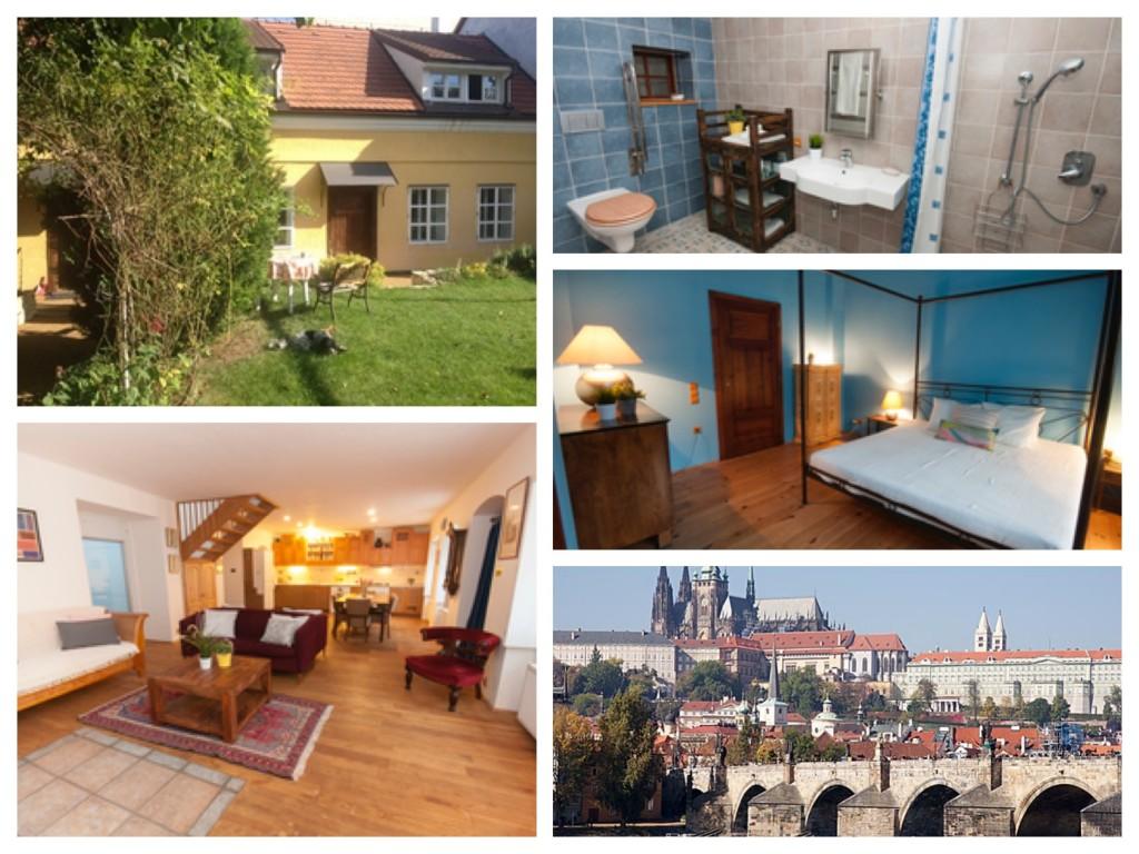 collage van foto's van een rolstoeltoegankelijk huisje in Praag