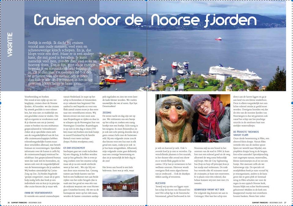 foto van het artikel in Support Magazine, Cruisen door de Noorse fjorden