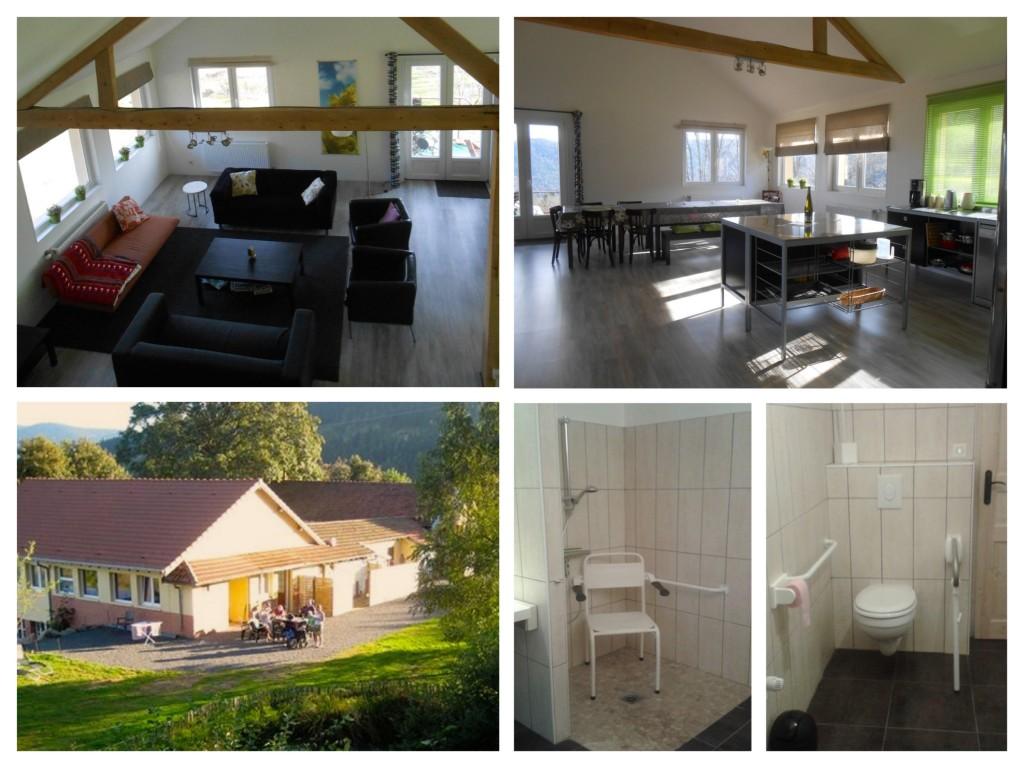 collage van vijf foto's van Casa Boslimpre. Douchestoel niet verijdbaar, inloopdouche, Toilet met beugels aan beide zijden
